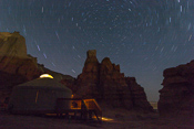 Startrails and our yurt... pity we didn't know that such long exposures don't work well with a digital camera!