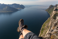 You can sit with your feet dangling over the 639 m deep drop - a little bit scary!