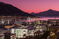 Tromsø city centre and a pink & purple sky