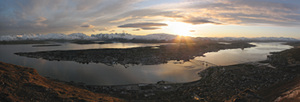 Panorama of Tromsø island from the top of the cable car, at 23:00