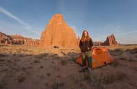 One last photo of Hanneke and our tent