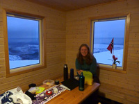 Lunch break in the cabin on top of Kjølen - photo by Hannah Vickers