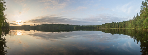 Panorama of the lake next to the sauna