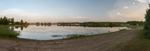 A sunset panorama of 'our' beach and lake
