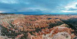 The panoramic view from Bryce Point at sunset