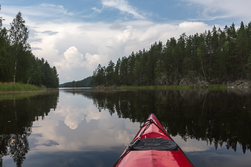 Paddling the short distance back to the parking lot on the last day - with thunderstorms all around us
