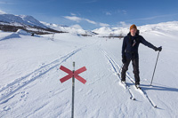 You won't get lost in Sweden ;) Here we had to make our own tracks, later we met snowscooters which made the skiing a lot easier!