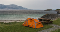 My very windy campsite - and another private beach :)