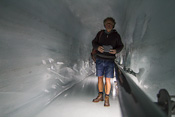 Inside the glacier! My dad with his new toy, he bought a tablet just before the trip and became inseparable from it ;)