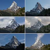 I took quite a few photos of the Matterhorn from our hotel room and combined them into this one photo :) I love this iconic mountain, which looks different all the time!