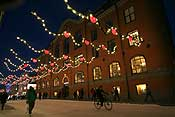 The Christmas lights have been put up. Hearts are a common theme for Christmas in Norway :)