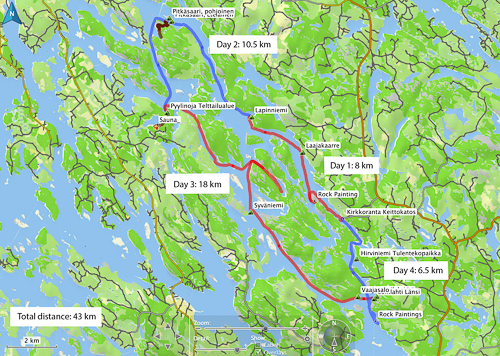 Map of our kayaking trip