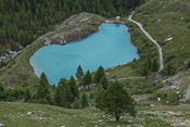 A small lake below - what an intense colour!