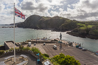 View over the harbour of Ilfracombe, with the Verity sculture by Damien Hirst