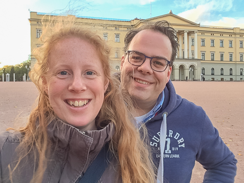 In front of the palace with Michiel :)