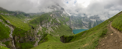 Looking towards the beautiful Oeschinensee.