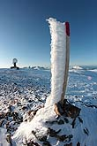 Impressive slabs of ice on the poles near the top