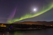 Purple beams! Not even the moon could outshine the aurora