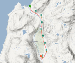 Our route to Blåkollkoia