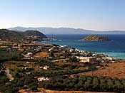 The view as we drove up - lots of olive trees. The island has ancient ruins and we thought about swimming there, but the sea was very rough.