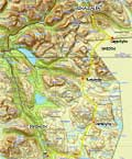 Map showing our hike starting in Signaldalen and ending in Dividalen. Total length: 72 km