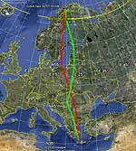 Flight path to (in green) and from (in red) Crete