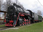 One of the old locomotives at Haapsalu station. There used to be a direct connection to St Petersburg from here.