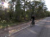 Cycling back to our cabin in the evening sun