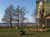 A nice park near the sea in Kärdla, with lots of wood carvings