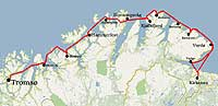 The route from Tromsø to Kirkenes, with all stops along the way indicated
