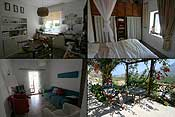 An impression of the cottage: the kitchen, bedroom, living room and terrace