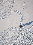 Our snow circles from above, I am carefully walking back in my own tracks