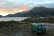 Our sleeping place on the first night on Sørøya, with a spectacular sunset.