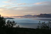 Beautiful view from higher up on the road, over the fjord and all the fog banks. Such a magical evening!