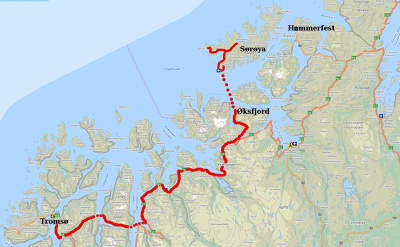 Our route to Sørøya from Tromsø. We could only drive the roads indicated in red on the island, so we actually only saw a small part of Sørøya!