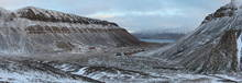 A panorama of the valley that Longyearbyen is situated in. In the front you see Nybyen, a somewhat separated part of town with mostly student housing