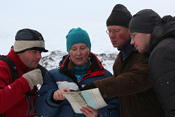 Ine-Therese showing our route on the map