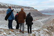 Heading back to Longyearbyen. Ine-Therese carries a gun as protection against polar bears
